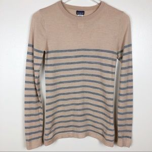Patagonia Wool Striped Sweater Cream and Gray